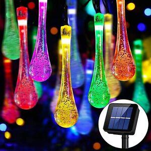 Solar String Lights Outdoor 30LED 21Ft Raindrop Solar Powered Fairy Lights UK