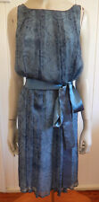 Oxford exquisite filmy silk dusky blue dress with silk sash size 12 (US 8)