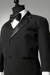 BOYS Tuxedo suit Black Satin trim wedding Christmas Holiday Bow tie vest pants