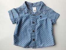 AS NEW baby girl Target blue w white spots cotton shirt size 00 Fits 3-6 mths