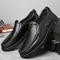 Men Cow Leather Formal Dress Slip On Loafers Soft Sole Casual Shoes Large Size