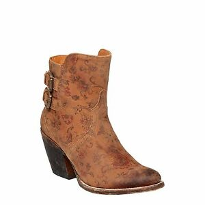 Lucchese Ladies Catalina Brown Floral Printed Shortie Boot M4953