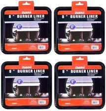 4x HEAVY DUTY BLACK STEEL SQUARE REUSABLE DRIP PAN GAS BURNER BIB LINER COVERS !