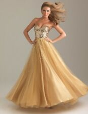 Night Moves by Allure Gold Sequin and Toule Gown