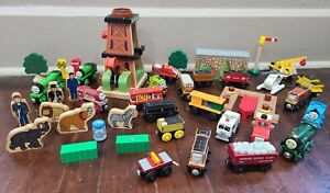 THOMAS WOODEN RAILWAY TRAIN Lot with Engines, Tenders and Track Add-Ons