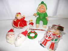 Lot of 8 Vintage Antique Christmas Ornaments/Toys,Santa,Baby,Dancer,1950s-1970's