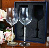 Pair of Wine Glass Crystal Cut Swarovski Element Wedding Present & Gift Box_UK