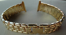 New ROWI Germany 18mm Gold Tone Bracelet Ladies Open Ends Crimp Watch Band