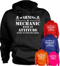 Warning Mechanic With An Attitude... Funny Hoodie Birthday Present Gift
