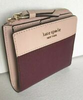 New Kate Spade Cameron small L-zip Bifold wallet Leather Cherry Wood Warm Vellum