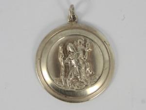 Vintage St Christopher Pendant Sterling Silver Ladies Gents 925 14.1g Jc69