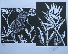 "LYNN KEATING AUSTRALIAN LINOCUT ""SMALL BIRD & BIRD OF PARADISE"" 2015 EDIT A/P"