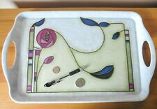 Charles Rennie Mackintosh design melamine serving tray with handles.