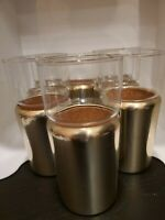 Set 8 Vtg 1960s Aluminum Mid Century Retro Glasses Cork Lined Cup Holders