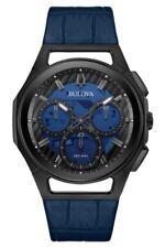 NEW BULOVA CURV BLACK PVD CASE BLUE LEATHER STRAP CHRONOGRAPH 98A232