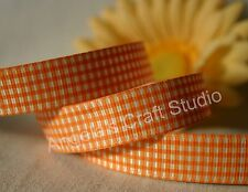 "1 Metre ORANGE / WHITE GINGHAM 16mm (5/8"") Grosgrain Ribbon - Hair Bow Sew Trim"