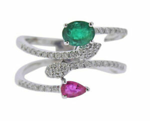 1.89 CT BRILLIANT EMERALD & RUBY 14K WHITE GOLD ENGAGEMENT & WEDDING BYPASS RING