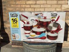 NEW - Tasty 16-Piece Cookware Set | Red | Titanium Reinforced Ceramic Non-Stick