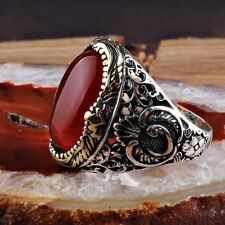 Turkish Ottoman Waw Vintage Red Agate Gemstone Solid925 Sterling Silver Men Ring