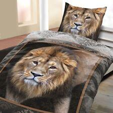 Mikrofaser Bettwäsche 135x200 cm 2-teilig Afrika braun Löwen Tiere Wildkatze