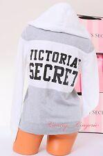 NWT VICTORIA'S SECRET Black Logo Zip-Up VS Hoodie Hooded Jacket S White Gray