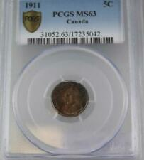 Canada 1911 5 Cents Coin PCGS MS63 Five Cents