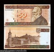 LITHUANIA 50 LITU P67 2003 EURO CATHEDRAL HORSE UNC MONEY BILL EU BANK NOTE