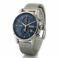 HUGO BOSS 1513441 MENS STAINLESS STEEL MESH BLUE DIAL WATCH 2 YEARS WARRANTY