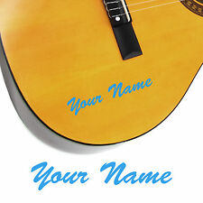 2 x Guitar Name Stickers - Personalised Acoustic Electric - Brush Script Style
