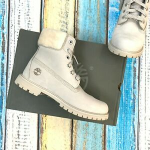 "Timberland Women's 6"" Premium Shearling Boo Light Taupe Nubuck Boots A21VT"