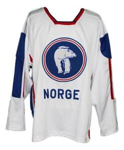 Any Name Number Size Norway Norge Retro Hockey Jersey White Skroder