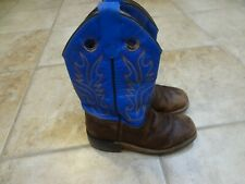 Boy's size 12.5 Old West Cowboy Boots **Work Boots** Royal blue