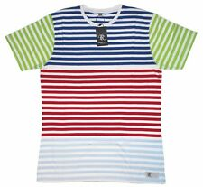 Mens Nautical  Multi-color striped T shirt colorblock Fresh Prince Cross Colours