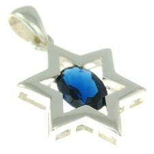 Star Of David Pendant In Blue Gemstone + 925 Sterling Silver Necklace #3