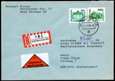 """DDR 1990 """"Dauerserie"""" Nachnahmebrief Einschreiben am Ersttag gel, MiNr 3346+3352"""