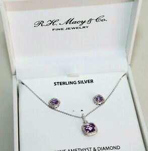 R.H. macy's  & Co. Necklaces sterling silver Genuine Amethyst  & Diamond set