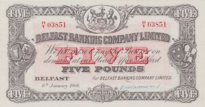 P127c BELFAST BANKING COMPANY LIMITED FIVE POUNDS BANKNOTE - MINT CONDITION 1966