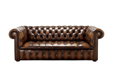 Chesterfield Edwardian 3 Seater Buttoned Seat Antique Autumn Tan Leather Sofa