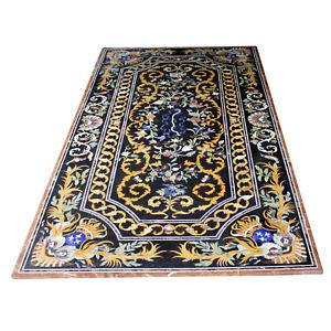 "96"" x 48"" Marble Table Top Pietra dura Art Handmade Inlay Work Home Decor"
