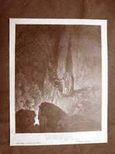 Incisione di Gustave Dorè del 1890 Ulisse e Diomede Divina Commedia Inferno