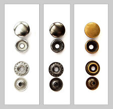 Druckknöpfe 12,5/15/17 mm ab 0,09 €/St. Metall Type 61 Ringfeder Leder Stoff