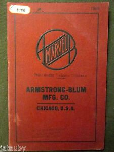 Vintage MARVEL NORTHWEST TRADING CO. ARMSTRONG BLUM TOOL CATALOG CHICAGO antique