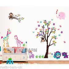 Safari Animals Jungle Tree Large Home Decor Vinyl Kids Wall Sticker Art Decal