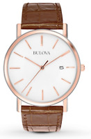 $225 Bulova Men's Watch 98H51 Brown Leather