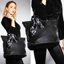 Grosse Nieten Tasche schwarz Totenkopf  Gothic Punk Bag Skull Shopper