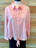 CHICOS-Size 3 Women~1X Plus Pink-Stripe Long-Sleeve Button-Blouse Shirt Top NWOT