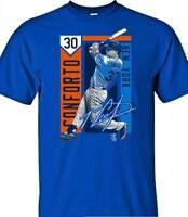 New York Mets MLBPA Michael Conforto #30 Color Block Youth Boys Tee Shirt Blue