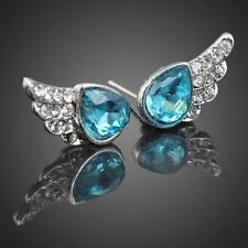 Fashion Style Blue Rhinestone Angels Wing Womens Studded Earrings Jewlery Gifts