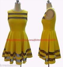 "New Womens MESH see through trims Casual Dress YELLOW Medium 8 bust 35"" - 38"""