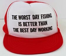 VINTAGE KC Fishing Trucker Hat Red White Adjustable Snapback Worst Day  Fishing 4a97110d1878